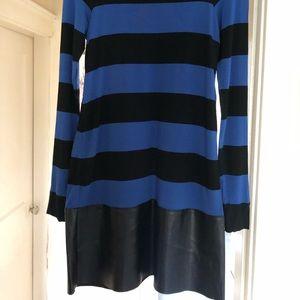 Bailey 44 long sleeve knit dress leather trim